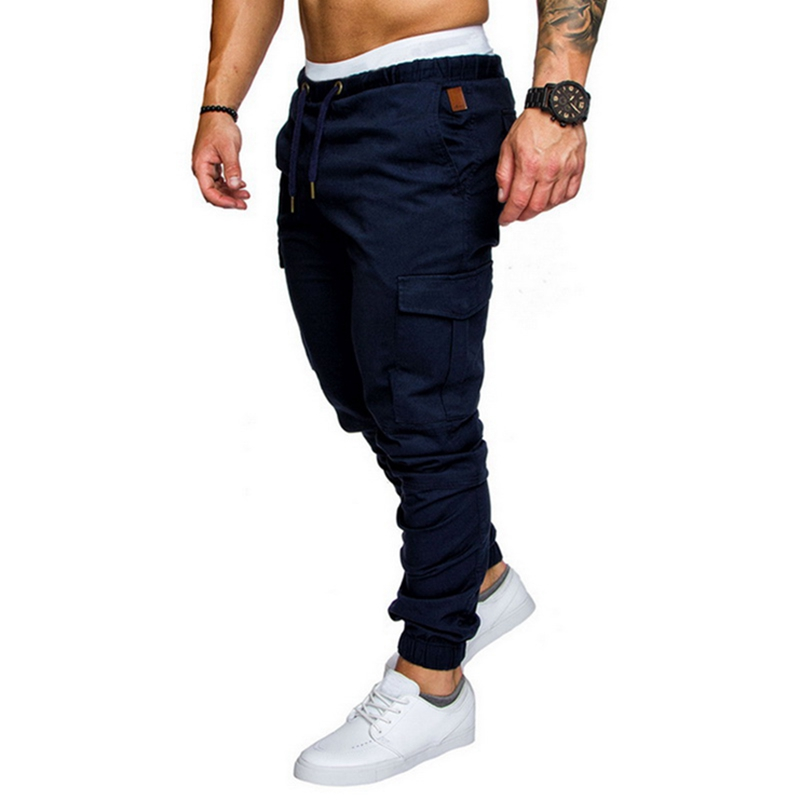 Puimentiua 2020 Spring Autumn Casual Men Pant Drawstring Elastic Waist Cargo Trouser Solid Jogger Sweatpant Side Pocket Men Pant
