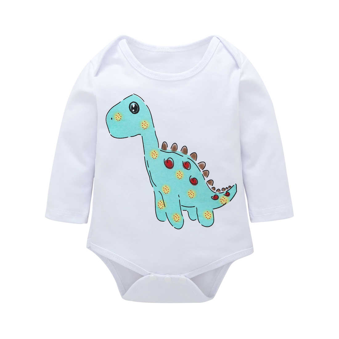0-18M Newborn Baby Girl Rompers Autumn Baby Boy Clothes Cotton Summer Jumpsuit Infant Playsuit Spring Dinosaur Baby Romper White