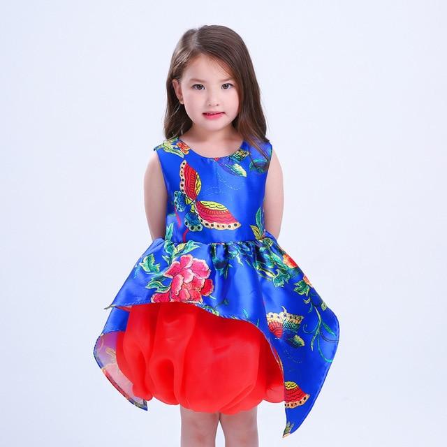 45b2ae291b876 Yeni pamuk baskı çiçek papyon çiçek moda kız elbise prenses parti zarif  bebek çocuk elbiseleri çocuk