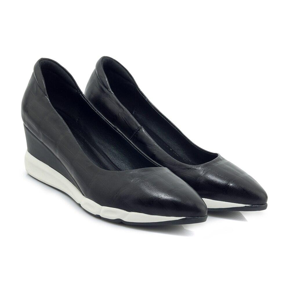 Mujeres Estrenar Moda Black Bombas Otoño Estrecha A Tacones Mujer Zapatos Chaussures Confort Skeepskin Altos red Punta Cuña Femme 6xBSq