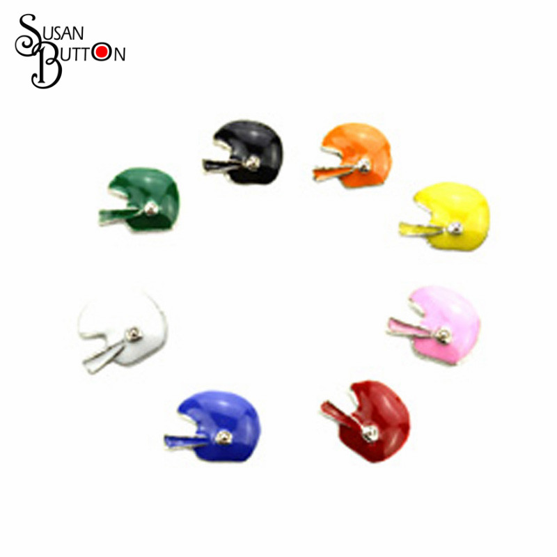 Enamel Floating charms for memory lockets Mixed Color Football Helmets Floating Charm for Glass Lockets SJFC2033