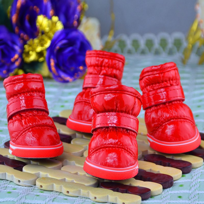 4 Pcs/Sets Puppy Winter Snow Boots Casual Dog Shoes Pet Slip-resistant Waterproof Shoes Teddy Dog Shoe