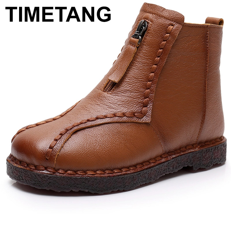 TIMETANG Genuine Leather Ankle Boots Winter Warm Handmade Soft Flat Shoes Comfortable Casual Moccasins Women s