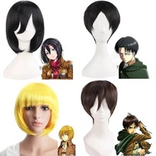 Shingeki No Kyojin Anime Attack On Titan Wigs Mikasa Levi Sasha Eren Cosplay Costume Black Yellow And Brown Short Hair Ring(China)