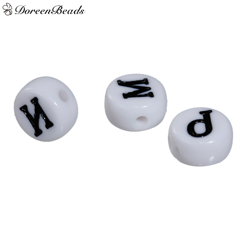 "DoreenBeads Acrylic Russian Alphabet Beads Round White About 7mm( 2/8"") Dia, Hole: Approx 1mm, 400 PCs Mixed At Random"