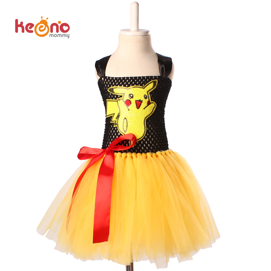 keenomommy cartoon girls tutu dress pikachu inspired tutu dress