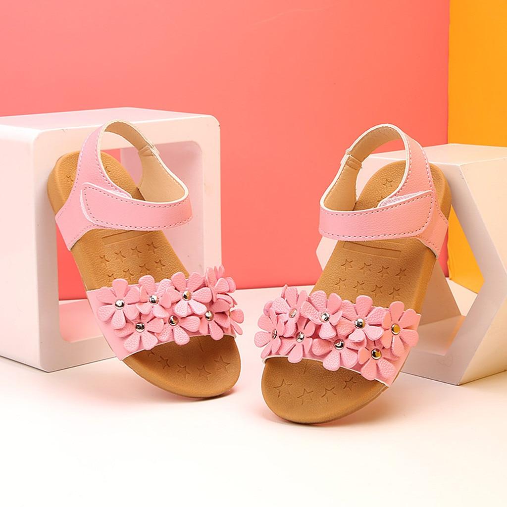 Big Girls Sandals Infant Kids Baby Casual Summer Boho Single Flower Hook Princess Roman Shoes