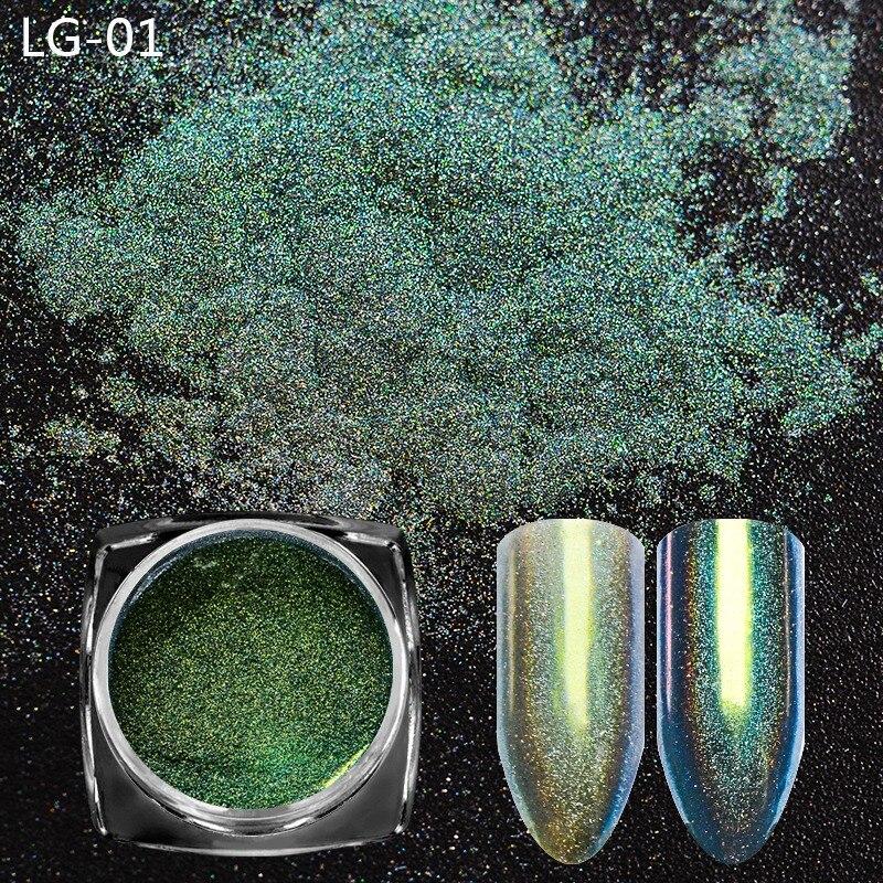 Nails Art & Werkzeuge Monja 12 Farben Nail Art Chamäleon Pfau Holographische Spiegel Pulver Glitter Laser Staub Chrom Pigment Dekorative Zubehör Nagelglitzer
