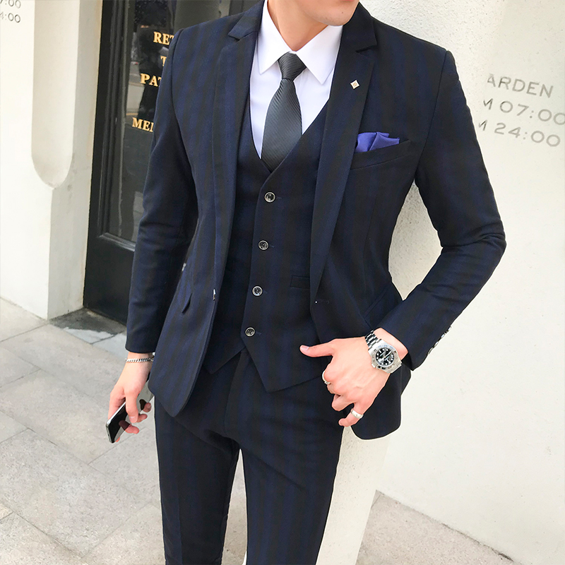 2019 New Men Stripe High grade Formal Groom Wedding Dress Suit 3 Piece Set Mens Formal Business Suit Jacket Vest Pants in Suits from Men 39 s Clothing