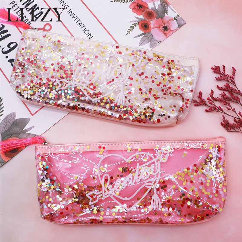 School Pencil Case Sequins Transparent Pencil Case For Girls Pink Cute Pencil Box Pen Pouch Stationery Kawaii Cosmetic Bag Tools