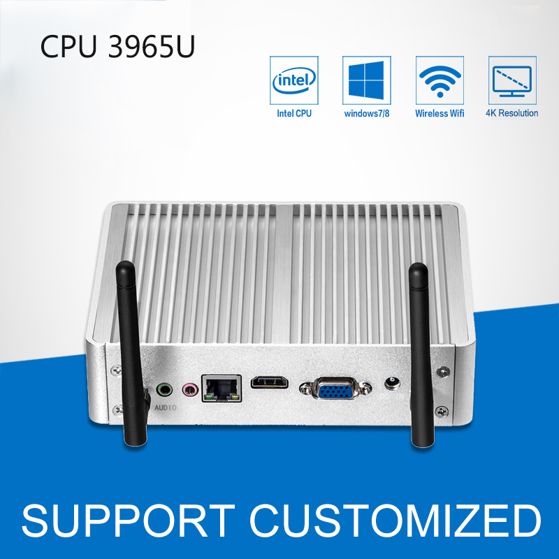 Fanless Mini PC DDR3 RAM 4K Resolution Windows 10 Mini Desktop Office Computer Celeron 3965U 300M WIFI HDMI USB HTPC TV Box