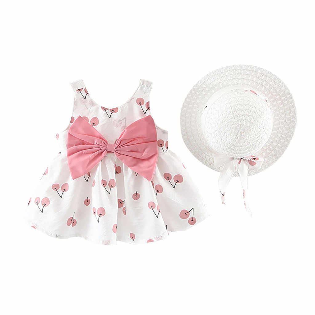 girls clothes dresses party Sleeveless Princess girls white clothes sets 1 years old Bow Hat kids clothes girls summer#G7