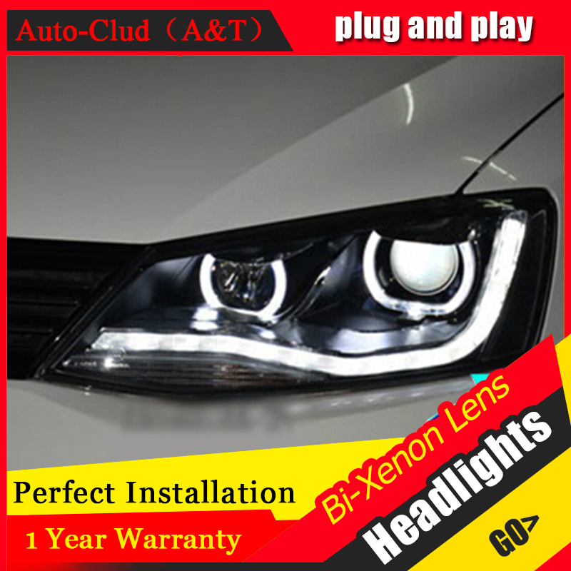 Auto Clud 2011 2014 For vw jetta headlights Double Angel Eyes LED light DRL car styling