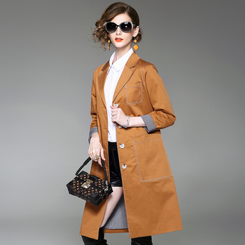 trench coat feminino 2019 woman autumn trench coat high quality big pocket long casual loose single breasted slim outwear coats