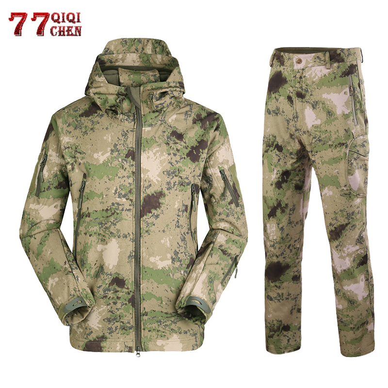Military Camouflage Tactical Jackets Suits Winter Autumn Waterproof Fleece Coats Shark Skin Soft Shell Jacket Clothing Set Men