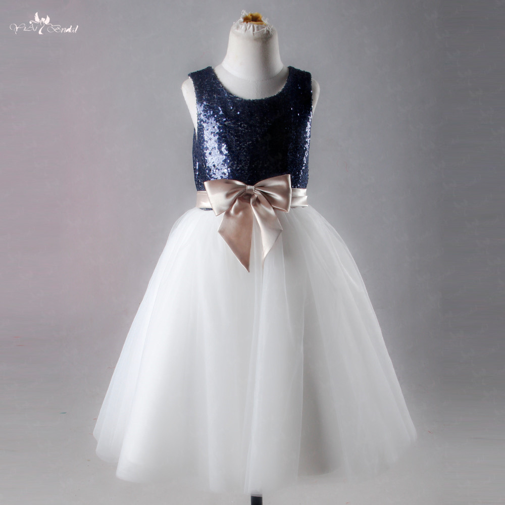 LZC020 Fashion   Flower     Girl     Dress   Sequined Tulle Wedding Party   Dress   Cute Princess   Dresses   Clothes Size 7-14