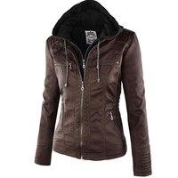 2017 Thời Trang Mùa Đông Faux Leather Jacket Nữ của Áo Khoác Trùm Đầu Mỏng Gắn Máy Áo Khoác Phụ Nữ Cơ Bản Áo Khoác Nữ 5XL 6XL 7XL 50