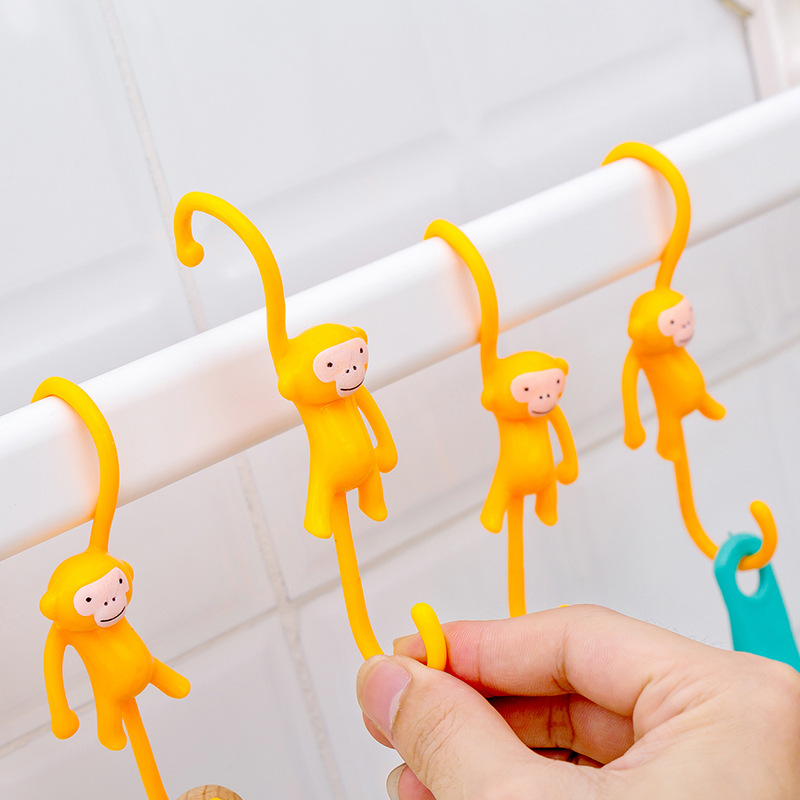 S Hooks Plastic Cartoon Monkey Shape Clasp Kitchen Storage Holder Hanger Multifunctional Hanging Hook Bathroom Room Organizer