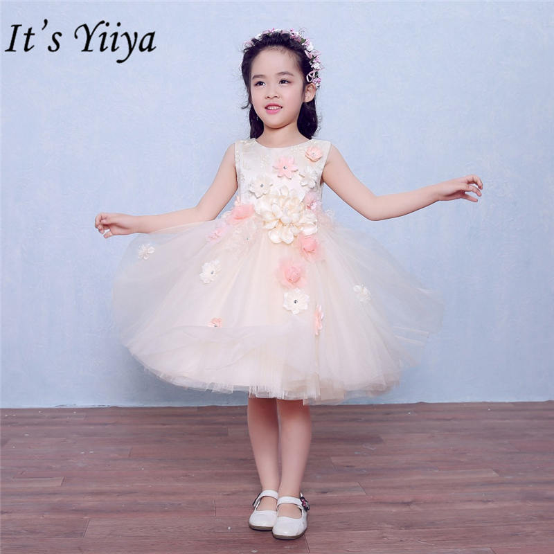 It's yiiya Sweet Appliques   Flower     Girl     Dresses   Elegant Embroidery O-neck Tank   Girl     Dress   TS213