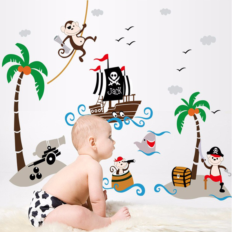 Creative kindergarten school Classroom decorative glass coconut trees Pirate Ship children room wall stickers in Wall Stickers from Home Garden