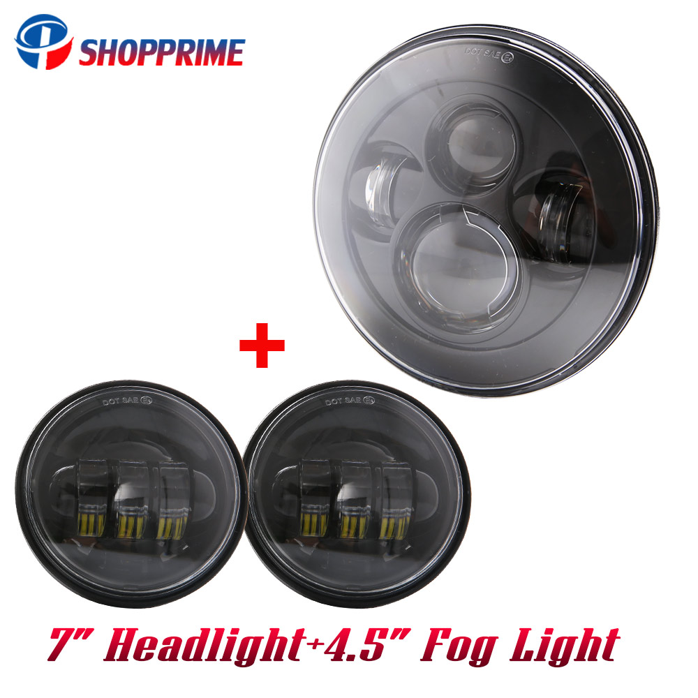 Lovely For Harley 7iinch Led Projector Headlight Home 4 1/2 Passing Lights For Harley Touring Electra Glide Black/chrome Led Lustrous Surface