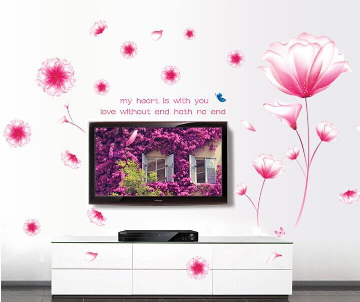 Aliexpress com : Buy Romantic Pink Flowers Dream DIY Removable Wall  Stickers Living Room TV/Sofa Backdrop Home Decor Mural Decal Wallpaper  AY9184A