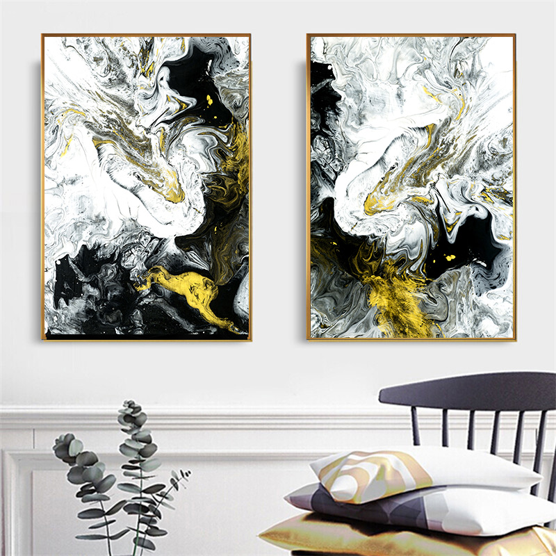 US $5.59 20% OFF|Abstract Oil painting on Canvas Art Yellow Black and White  Posters and Prints Nordic Style Wall Picture for Living Room Decor-in ...