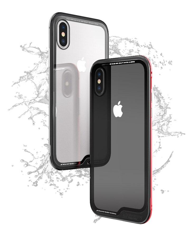 Алюминий металлический бампер для Apple IPhone X чехол тонкий прозрачный ультра тонкий Стекло жесткий iphonex чехол для iPhone х чехол кожи Coque