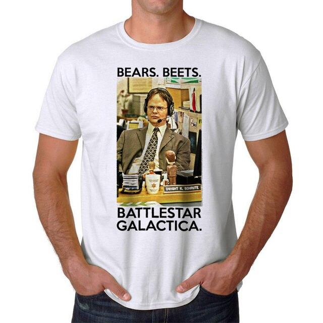 11b7022b02a The Office Bears Beets Battlestar Galactica Dwight Graphic Men s White  T-shirt