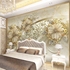 European Style 3D Relief Flowers Pattern Jewelry Photo Murals Wallpaper Living Room Hotel Luxury Background Wall Painting Decor review