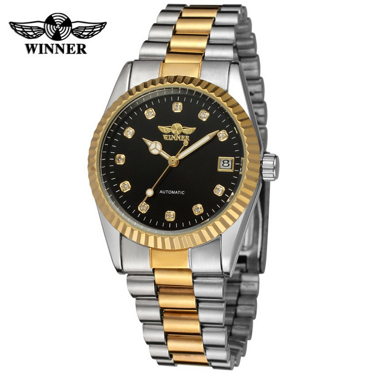 Fashion Hot Winner Top Brand Luxury Gold Mens Wrist Watch Men Business Clock Automatic Mechanical Watches Male Steel Skeleton winner mens watches top brand luxury leather strap skeleton skull auto mechanical fashion steampunk wrist watch men gift box