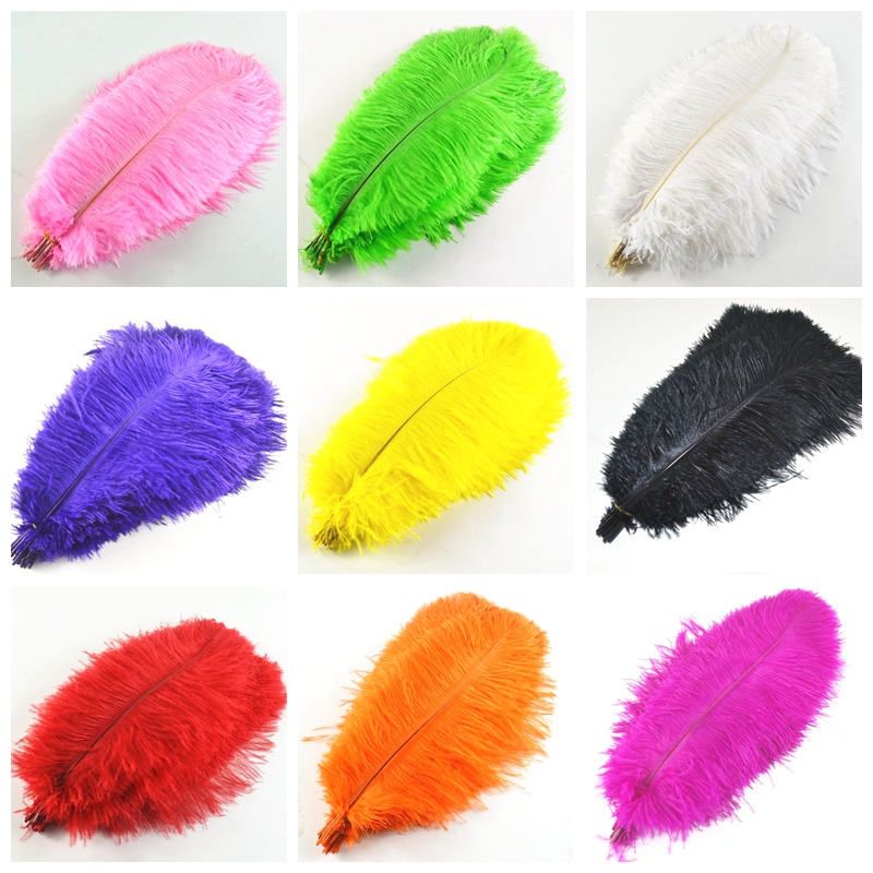 Hot 100 Pcs 30 35cm beautiful cheap colored ostrich feathers diy 