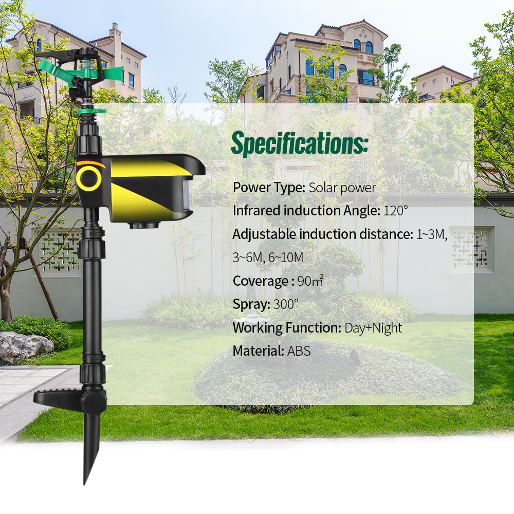 Image 4 - UPGRADED Solar powered Motion Activated Animal Repeller Garden Sprinkler Scarecrow,Animal Deterrent-in Repellents from Home & Garden