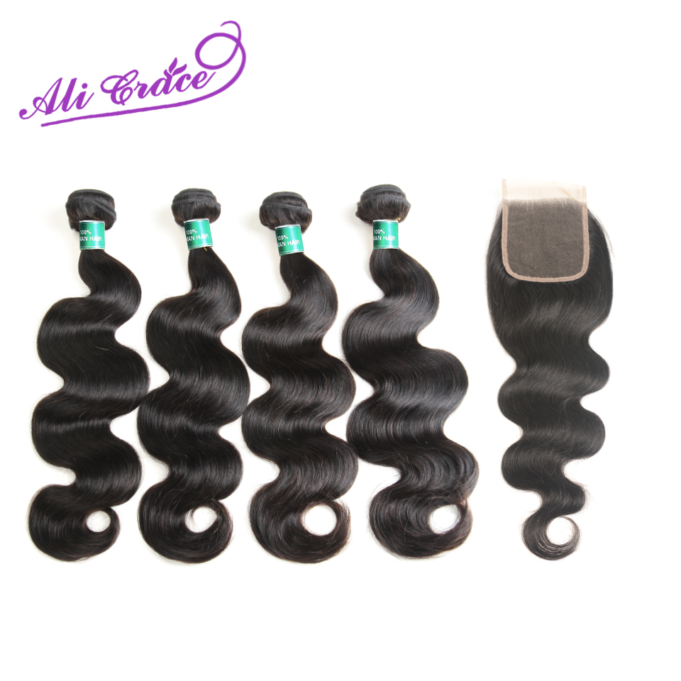 Ali Grace Hair Peruvian Body Wave With Closure 100 Remy Human Hair 4 Bundles With 4