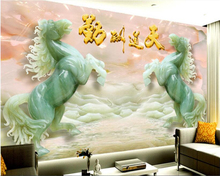 beibehang Custom high-end fashion personality seamless wallpaper 3D jade carved horse backdrop wall papel de parede 3d