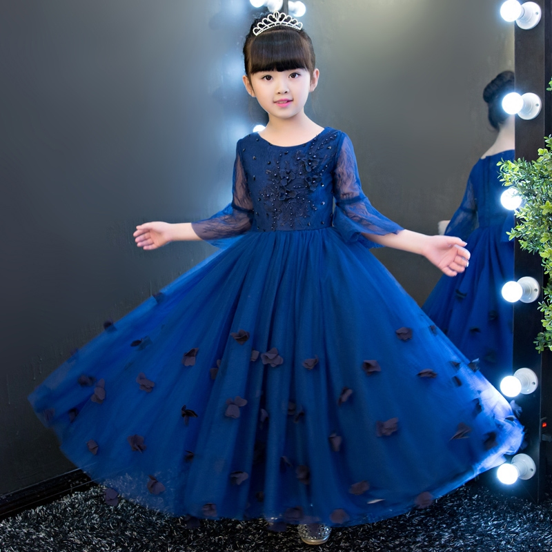 High Quality Children Girls Birthday Wedding Party Princess Long Dress Summer Costume Dresses For Kids Embroider Flowers Clothes new summer dress sequined flowers bow kids dresses for girls clothes solid birthday party robe princess dress wedding vestido