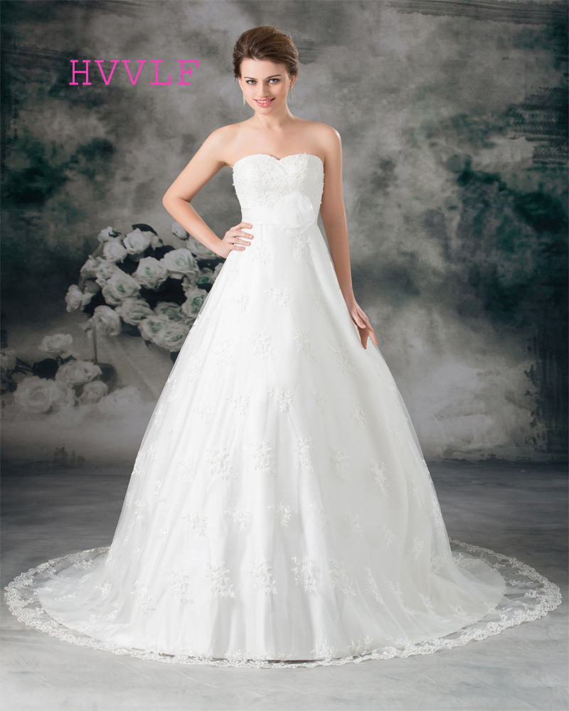 Lace 2019 Wedding Dresses Ball Gown Sweetheart Flowers Bow