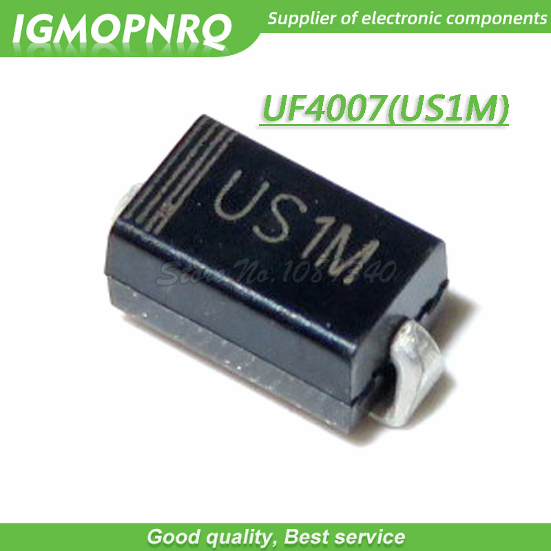 100PCS SMD US1M UF4007 1A/1000V  SMA Fast Recovery Diode Rectifier New Original