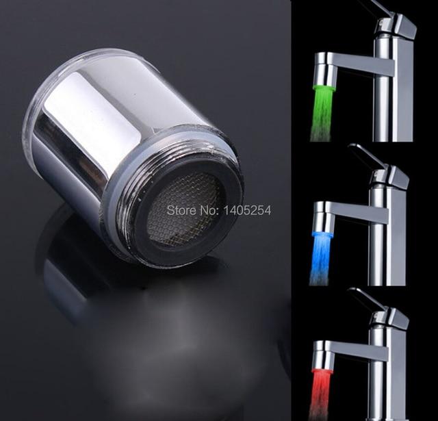 Captivating LED Faucet Lights Change Color LED Faucet Light Temperature Control Faucet  Tricolor Bath Accessories Gallery
