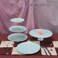 3 pezzi del basamento della torta attrezzi della torta del bigné vassoio decorazione della torta di Ceramica blu di nozze cremagliera