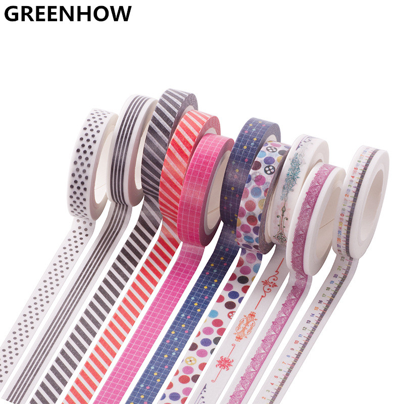 GREENHOW 8mmX7m Washi Tape Japanese Washi Decorative Adhesive Tape DIY Masking Paper Tape Sticker Stationery tape 1060 1roll 35mmx7m high quality rabbit home pattern japanese washi decorative adhesive tape diy masking paper tape label sticker gift page 9