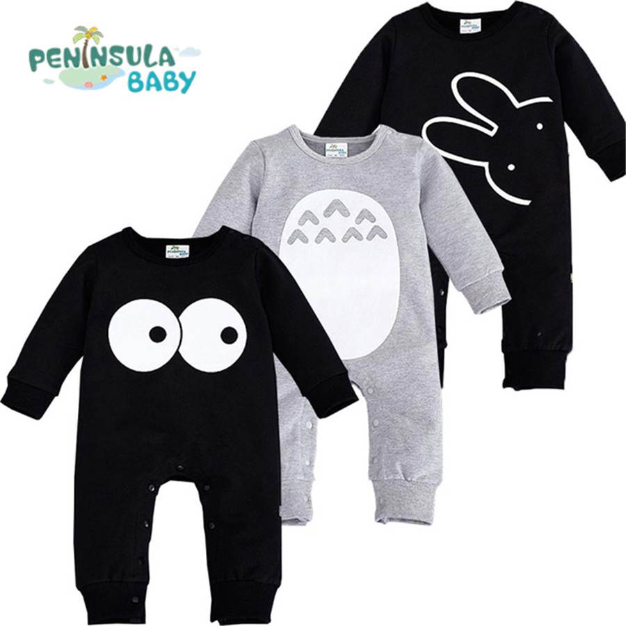 Fashion Cute Animal Romper Cartoon Big Eyes Printed Unisex Baby Boys Girls Clothes Rabbit Totoro Newborn Baby Infant Jumpsuit puseky 2017 infant romper baby boys girls jumpsuit newborn bebe clothing hooded toddler baby clothes cute panda romper costumes