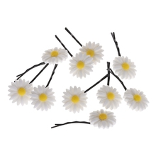 10 Pcs/Set Cute White Daisy Flowers Hair Accessories HairClips Elastic Rope