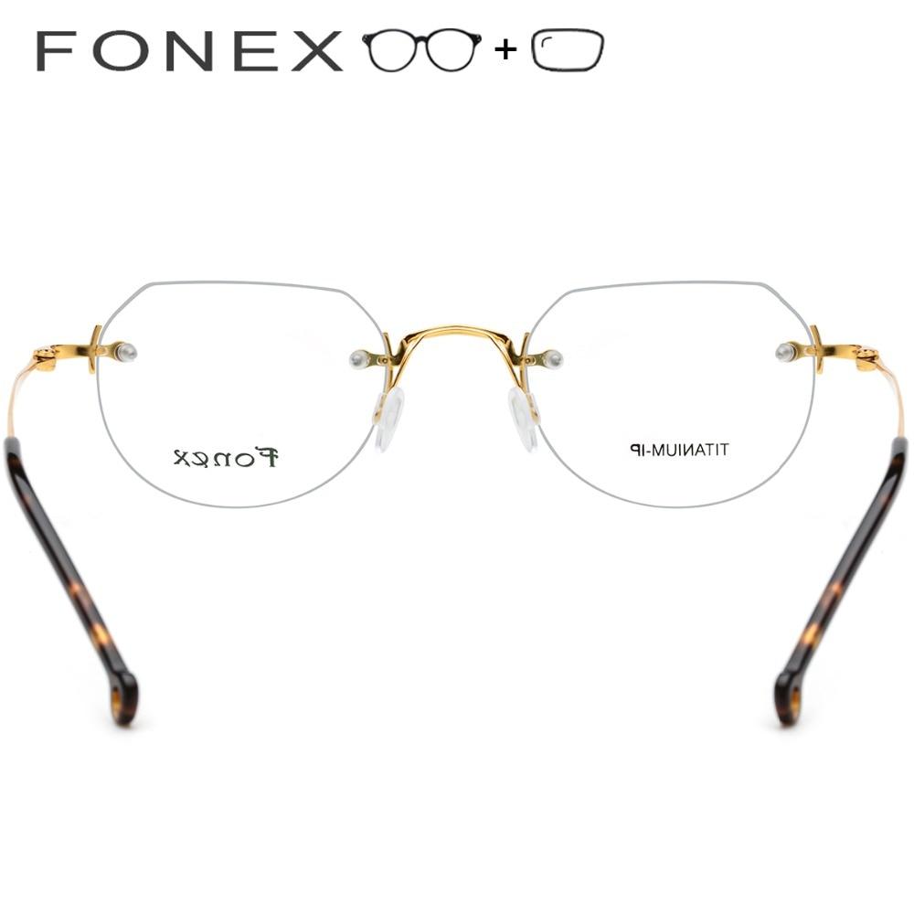 Randlose Reinem Titan Ultraleicht Schraubenlose Frauen Polygon Männer Myopie Brillen Optische Rahmen Koreanische 5U1rx7wqU