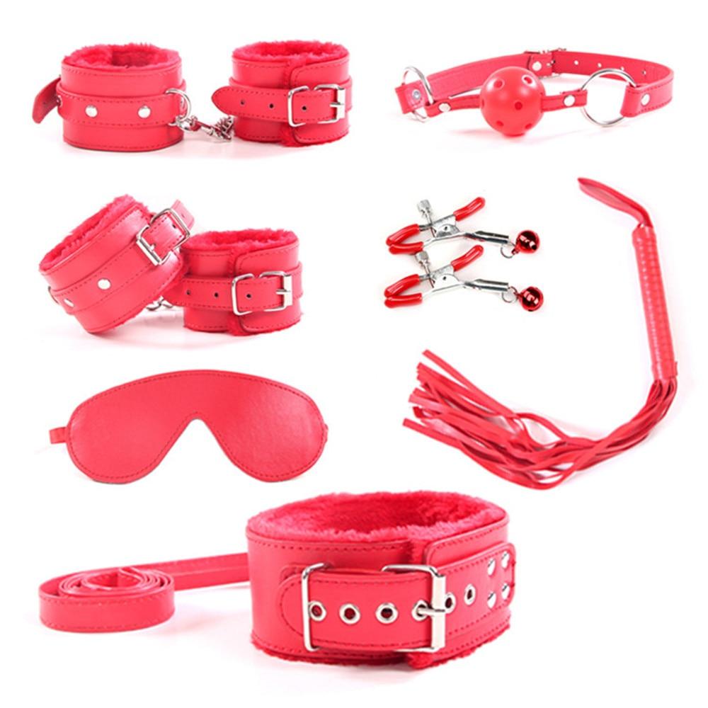 Buy Adult Games Slave Sex Toys set  7pcs/lot Sexy black /red Faux Leather Fetish Bondage Restraints Kit Erotic Sex Products