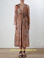 Шелковые женские комбинезон с принтом листьев глубоким v образным вырезом с длинным рукавом сексуальный тонкий свободные комбинезон брюки