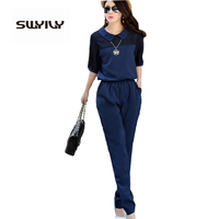 11 11 Price Large Size 3XL 4XL Summer Jumpsuits 2016 One Piece Pants Lapel Elegant Salopette