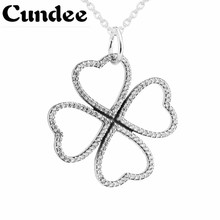 925 Sterling Silver Love Four Leaf Clover Necklaces Pendant With Zircon Women Necklace Fine Jewelry Valentine's Day Gift