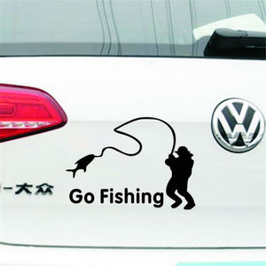 Cartoon Reflective Black Silver Go Fishing Car Stickers Waterproof Stickers Car Styling Window Tail Fashion Decoration Stickers