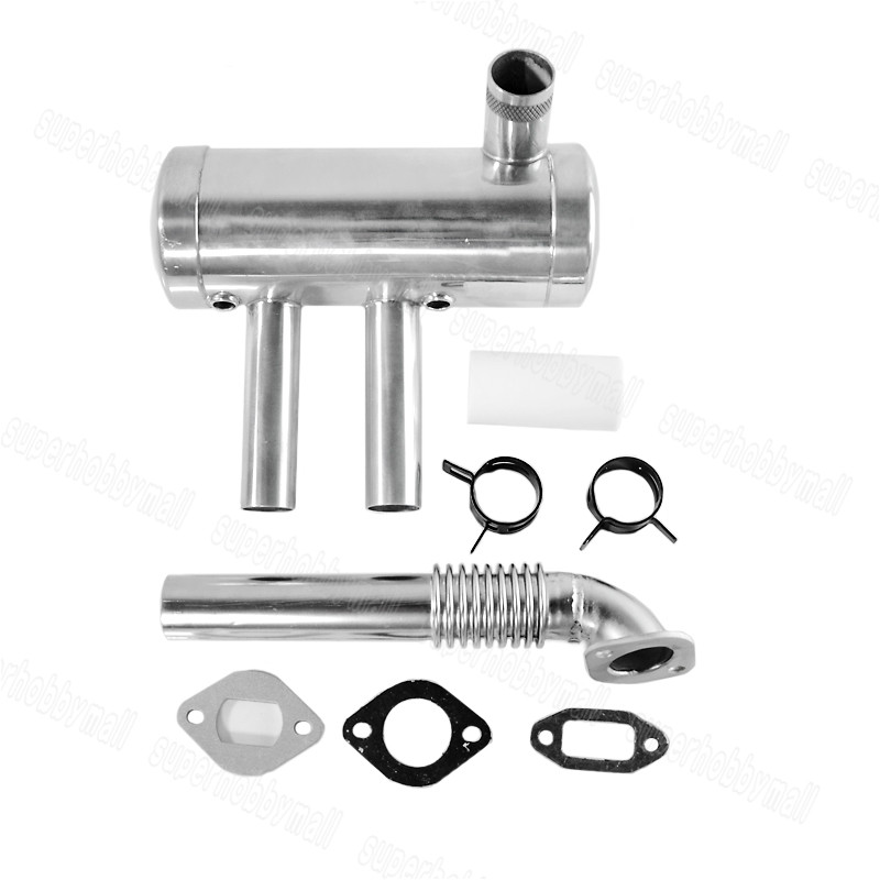 EME 40-80CC Rear Exhaust Pipe Muffler Set For Fixed Wing Gasoline Engine Parts